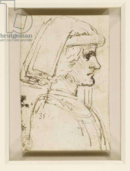 The head and shoulders of a young man wearing a cap in profile, c.1480-85 (pen & ink on paper) (recto of 5614246)