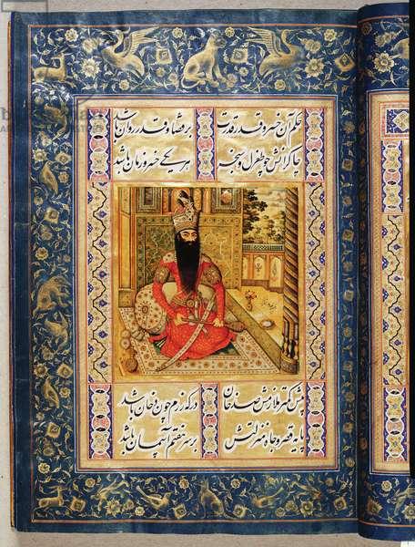 Portrait of Fath-Ali Shah Qajar, f.13r from 'Divan-i Khaqan', 1802-03 (lacquer & gold on paper)