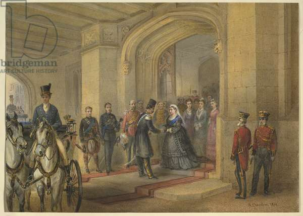 Reception of the Shah of Persia at Windsor Castle, 20 June 1873, dated 1874 (w/c on paper)