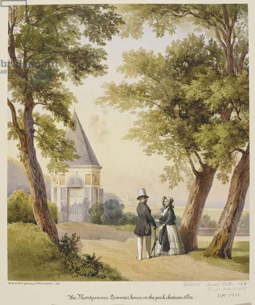 Royal visit to Louis-Philippe: Queen Victoria with the King by the Montpensier Summer House at Château d'Eu, 3 September 1843, c.1843 (w/c on paper)
