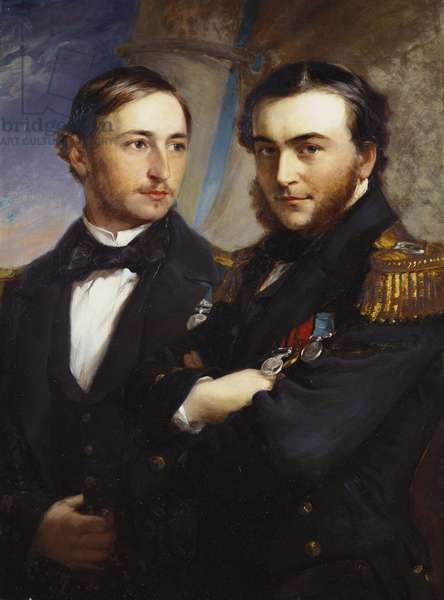 Ernest, Prince of Leiningen, with Prince Victor of Hohenlohe-Langenburg, Count Gleichen, 1857 (oil on canvas)