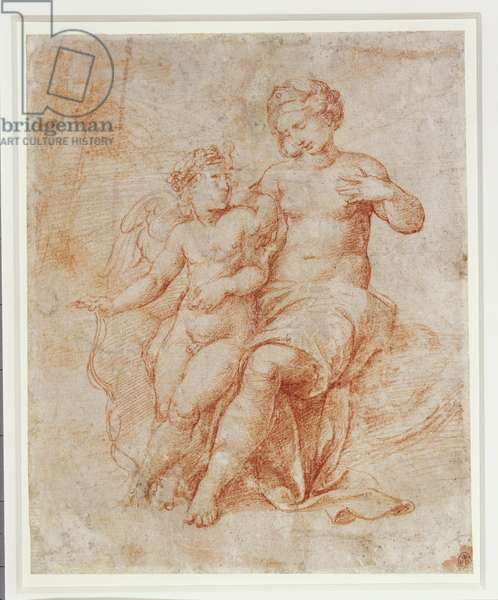 Venus and Cupid (red chalk on paper)