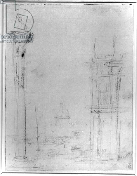 Infra-red image of Venice: The Piazzetta, looking towards Santa Maria della Salute, infrared image, c.1723-24 (pen & ink, over some free pencil on paper)