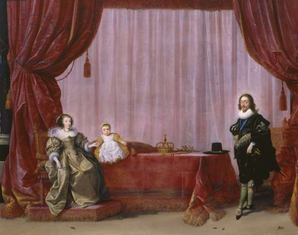 Charles I, Henrietta Maria and Charles, Prince of Wales (later Charles II) c.1632 (oil on panel)