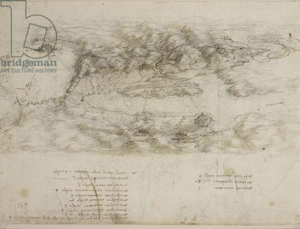 A bird's-eye view of the Valdichiana, c.1503-04 (charcoal, pen & ink with wash on paper)