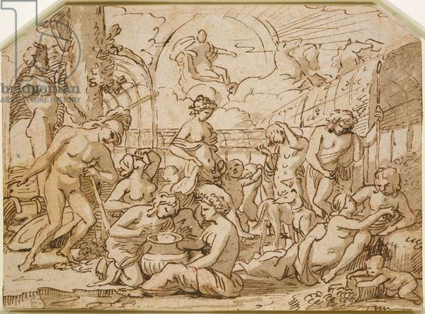 The kingdom of Flora, c.1627 (pen & ink with wash over red chalk, on buff paper)