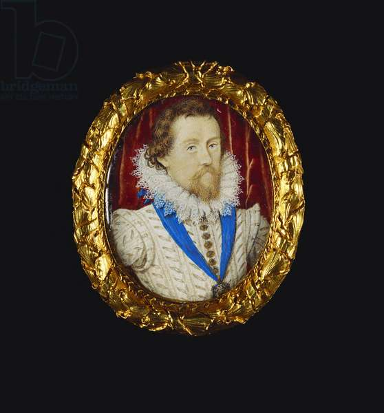 James I, 1614 (w/c on vellum laid on playing card)