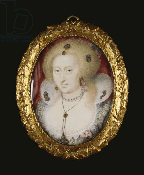 Anne of Denmark, c.1611-12 (w/c on vellum laid on playing card (ace of clubs))