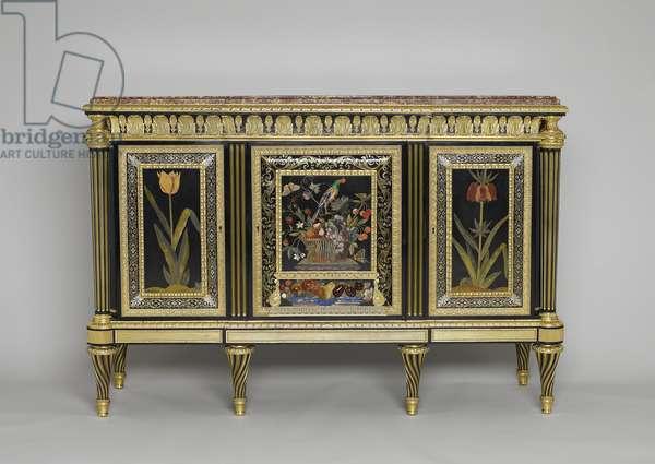 Commode, 1785-90 (oak, ebony, hardstones, tortoiseshell, brass, pewter, mahogany, boxwood, purplewood, gilt bronze, brocatello marble)