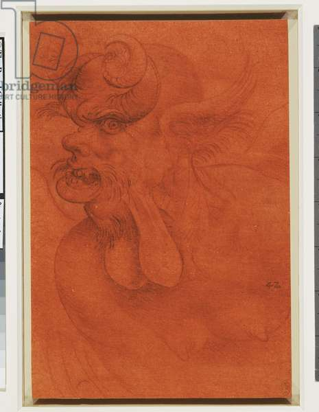 The head of a devil, c.1510-20 (red, black and white chalks and grey wash on red prepared paper)