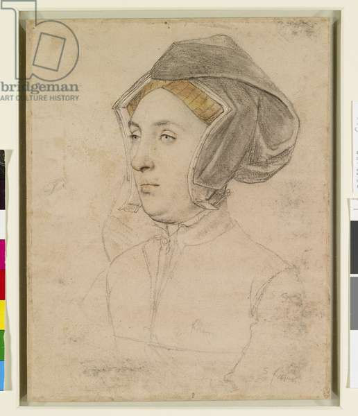 An unidentified woman, c.1532-43 (black and coloured chalks, and pen and ink on pale pink prepared paper)