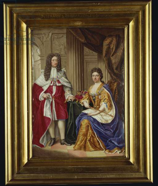 Queen Anne and Prince George of Denmark, 1706 (enamel)