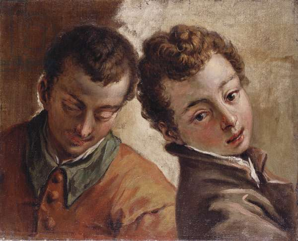 Juxtaposed Heads of a Young Man and a Boy, c.1725-30 (oil on canvas)