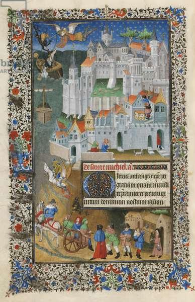 F.204v, 'Pilgrims arriving' illustration from 'The Sobieski Book of Hours', c.1420 (vellum)