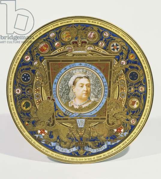 Plate commemorating Queen Victoria's Golden Jubilee, Derby Porcelain Works, 1887 (porcelain)