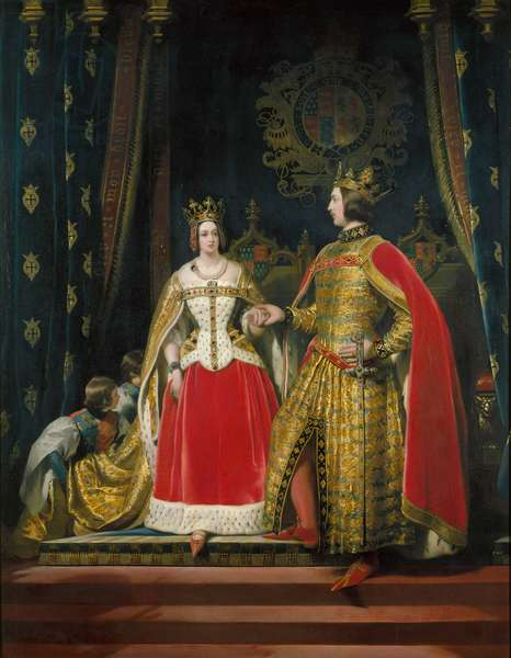 Queen Victoria and Prince Albert at the Bal Costume of 12th May 1842, 1842-46 (oil on canvas)