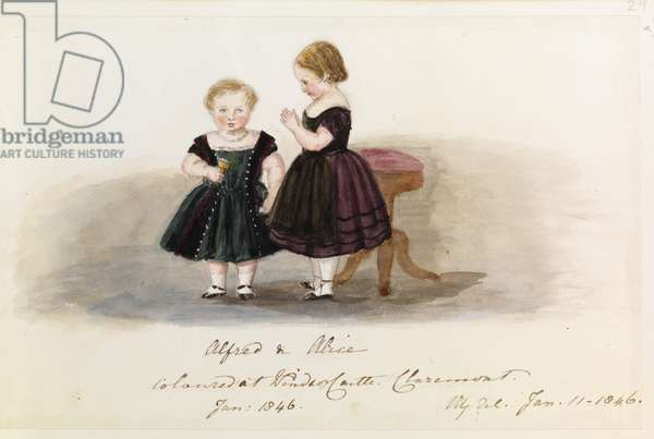 Alfred & Alice, January 1846 (pencil, w/c & ink)