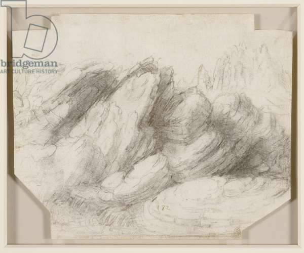 A rocky outcrop, c.1510 (black chalk on paper)