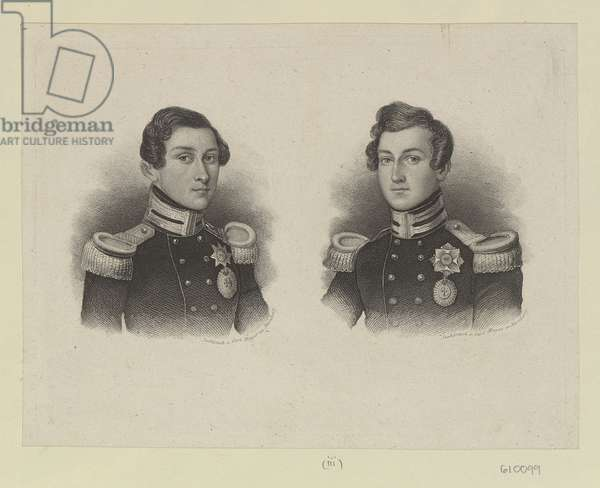 Ernst II, Duke of Saxe-Coburg-Gotha and his brother Prince Albert, c.1840-60 (stipple engraving)
