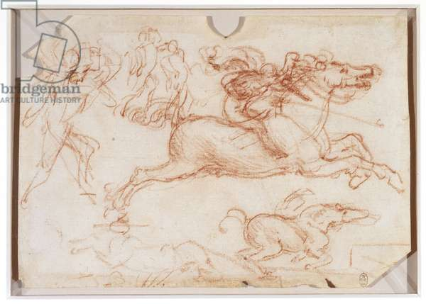 Studies of horses and soldiers for the 'Battle of Anghiari', c.1503-04 (chalk on paper)