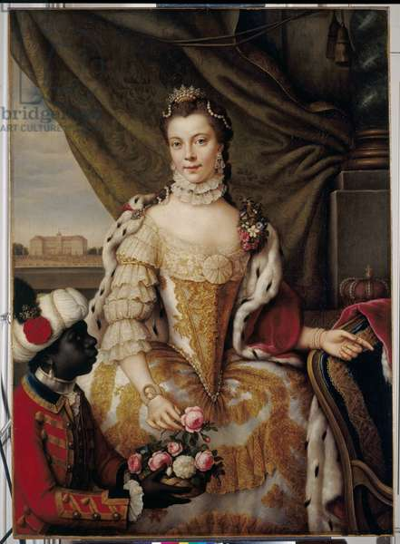 Queen Charlotte (1744-1818) when Princess Sophie Charlotte of Mecklenburg-Strelitz, c.1761 (oil on canvas)