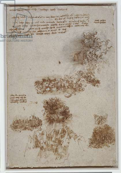 Scenes of the Apocalypse, with notes, c.1517-18 (pen & ink, wash and chalk on paper)
