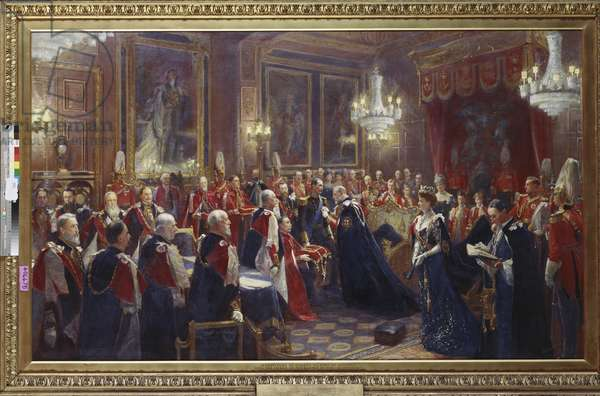 Investiture of Haakon VII, King of Norway with the Order of the Garter in 1906, 1906-08 (oil on canvas)