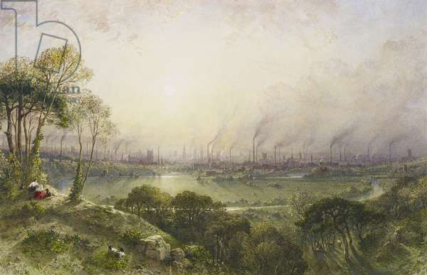 Manchester from Kersal Moor, 1852 (w/c with bodycolour and gum arabic on paper)
