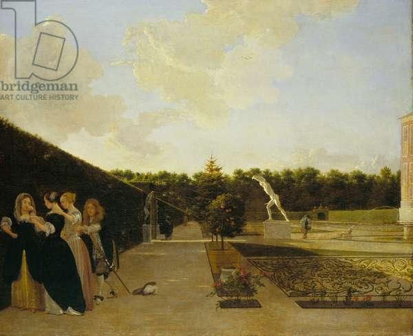 A formal garden: three ladies surprised by a gentleman, c.1676 (oil on canvas)