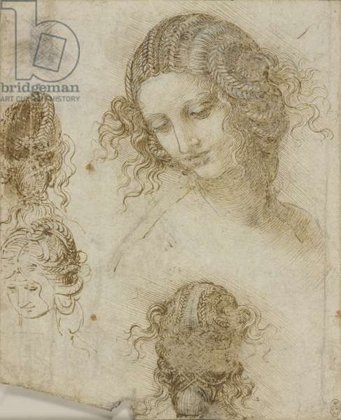 Studies for the head of Leda, c.1505-06 (pen & ink and chalk on paper)