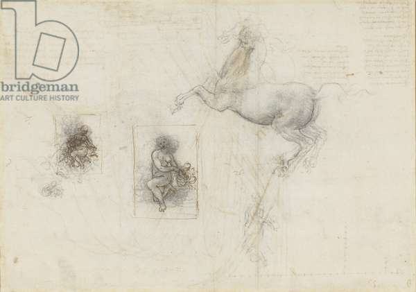 Recto: A horse and rider, and studies for Leda, c.1503-04 (chalk, pen & ink on paper)