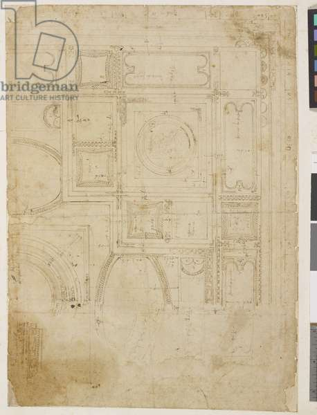 Copy after an ancient Roman fresco, showing a plan of the vaulting scheme, detailing the ornament, with measurements and colour notes (pen & ink on paper)