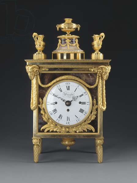 Mantel Clock, 1770-71 (blue john, gilt bronze, enamel & steel)