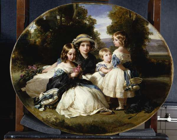 The four eldest princesses, Victoria, Princess Royal, Alice, Helena and Louise, 1849 (oil on canvas)