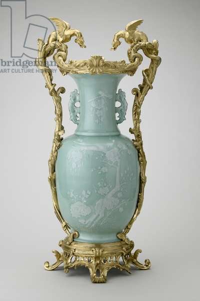 Vase with mounts mark and reign Qianlong 1736-95, mount: early 19th century (porcelain with light celadon glaze painted in white slip, mounted in gilt bronze)