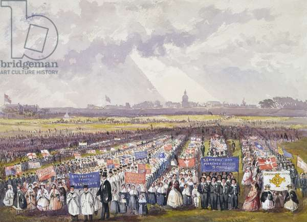 Free School children advancing to sing 'God Save the Queen' at Portsmouth, 1863 (w/c heightened with white on paper)