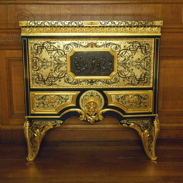 Secretaire, c.1700-70 (oak, ebony, tortoiseshell and brass with gilt bronze mounts)