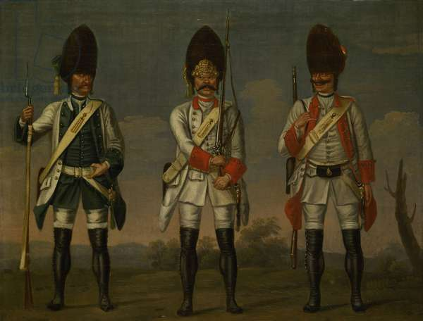 Grenadiers, Infantry Regiments 'Los Rios', 'Waldeck' and 'Wurmbrand', c.1748 (oil on canvas)