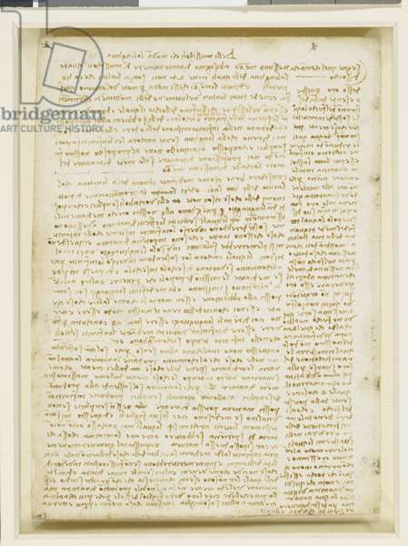 Verso: Notes on the tongue, speech, languages, alchemy, etc. c.1508 (pen & ink on paper)