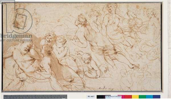 Silenus and Aegle with other studies, c.1612-15 (pen & ink with brown wash on paper)