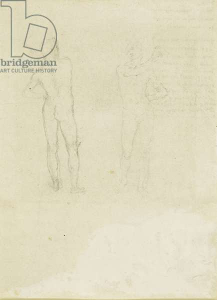 Two sketches of nude men seen from the front and behind, c.1506 (pen & ink with black chalk on paper)