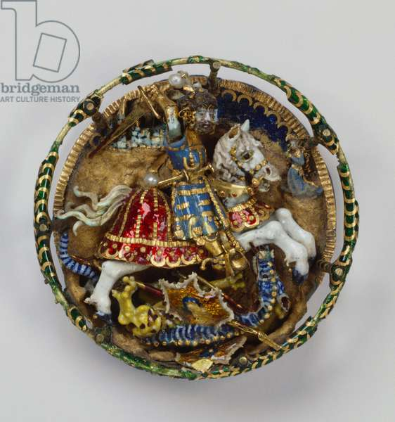 Hat badge with St. George and the Dragon, c.1520 (gold, seed pearls & enamel)