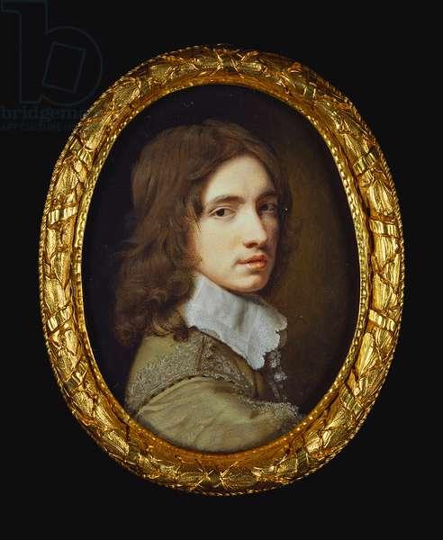 Self portrait, 1645 (w/c on vellum laid on card)