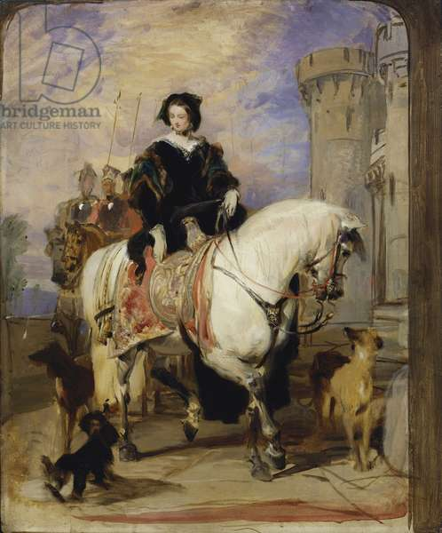 Queen Victoria on horseback, 1839 (oil on millboard)