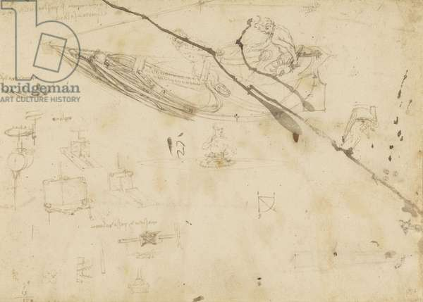 Recto: Designs for boats, and other machinery, c.1485 (leadpoint, pen & ink on paper)