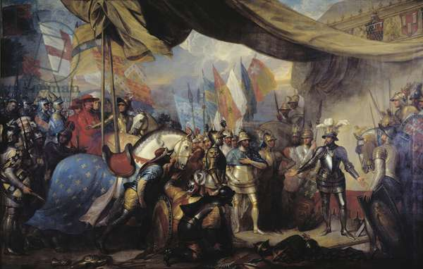 Edward, The Black Prince, receiving King John of France after the Battle of Poitiers, 1788 (oil on canvas)