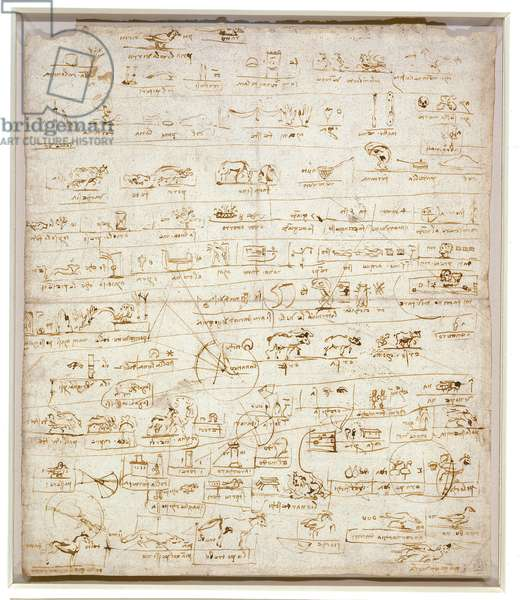 A sheet of pictographs drawn over astronomical studies, c.1487 (pen & ink on paper)