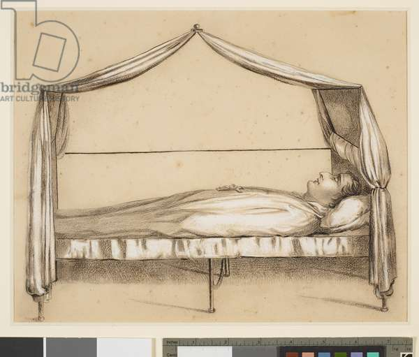 Napoleon on his Death-Bed, 1821 (Black and white chalk on paper)