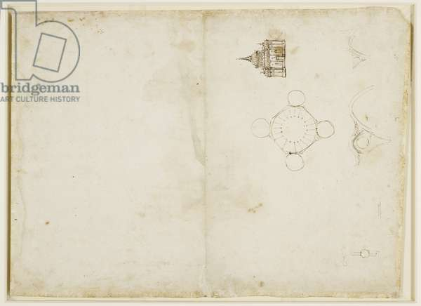 Verso: A plan and elevation of a domed church, c.1490 (pen & ink on paper) (verso of 3823036)