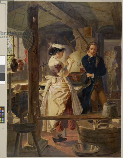 Hetty Sorrel and Captain Donnithorne in Mrs Poyser's dairy, 1861 (w/c & gouache with gum arabic on paper)